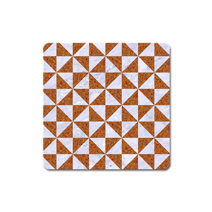 TRIANGLE1 WHITE MARBLE & RUSTED METAL Square Magnet