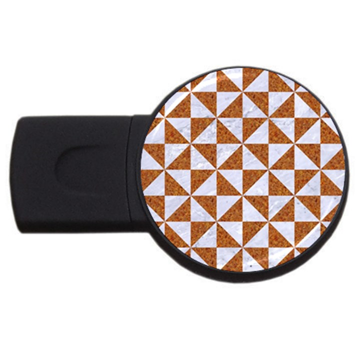 TRIANGLE1 WHITE MARBLE & RUSTED METAL USB Flash Drive Round (2 GB)