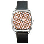 TRIANGLE1 WHITE MARBLE & RUSTED METAL Square Metal Watch Front