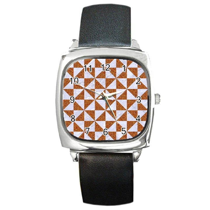 TRIANGLE1 WHITE MARBLE & RUSTED METAL Square Metal Watch