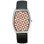 TRIANGLE1 WHITE MARBLE & RUSTED METAL Barrel Style Metal Watch Front