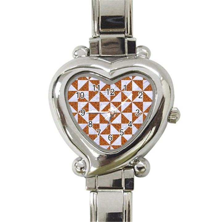 TRIANGLE1 WHITE MARBLE & RUSTED METAL Heart Italian Charm Watch