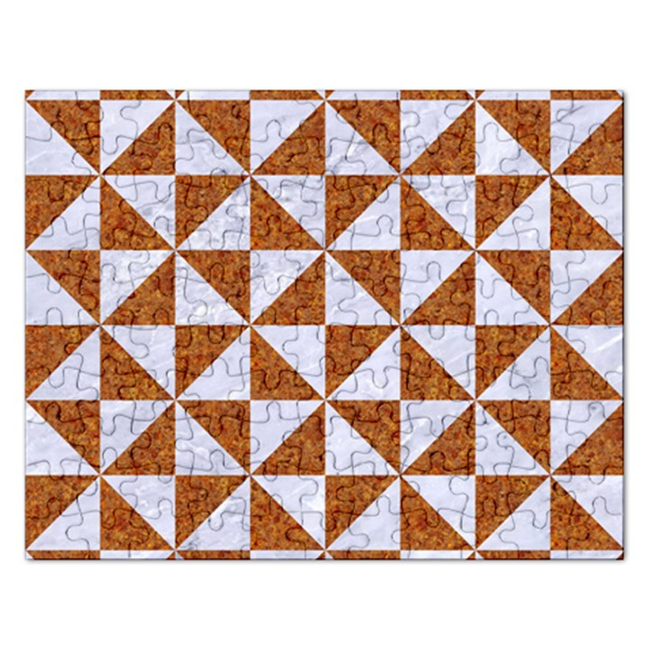 TRIANGLE1 WHITE MARBLE & RUSTED METAL Rectangular Jigsaw Puzzl