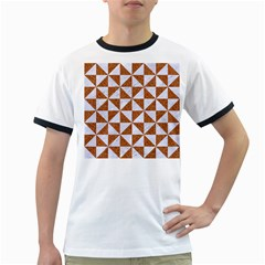Triangle1 White Marble & Rusted Metal Ringer T Shirts