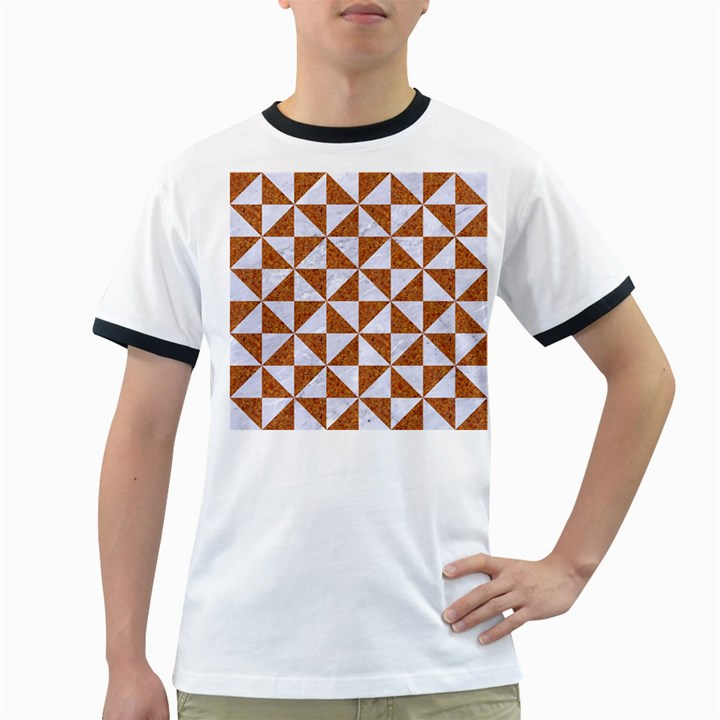 TRIANGLE1 WHITE MARBLE & RUSTED METAL Ringer T-Shirts