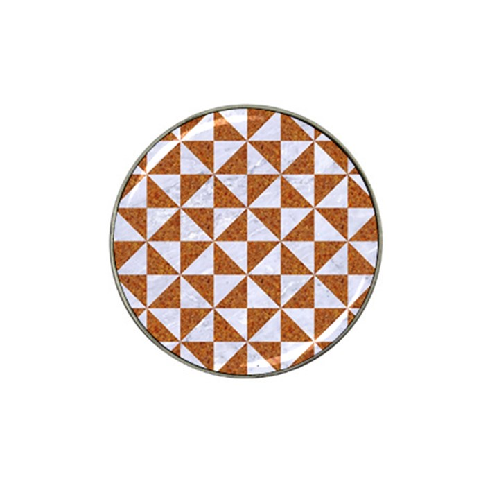 TRIANGLE1 WHITE MARBLE & RUSTED METAL Hat Clip Ball Marker (4 pack)