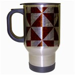 TRIANGLE1 WHITE MARBLE & RUSTED METAL Travel Mug (Silver Gray) Left