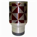 TRIANGLE1 WHITE MARBLE & RUSTED METAL Travel Mug (Silver Gray) Center