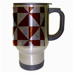 TRIANGLE1 WHITE MARBLE & RUSTED METAL Travel Mug (Silver Gray) Right