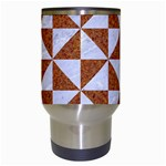 TRIANGLE1 WHITE MARBLE & RUSTED METAL Travel Mugs (White) Center