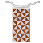 TRIANGLE1 WHITE MARBLE & RUSTED METAL Jewelry Bag Front