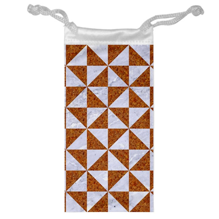 TRIANGLE1 WHITE MARBLE & RUSTED METAL Jewelry Bag
