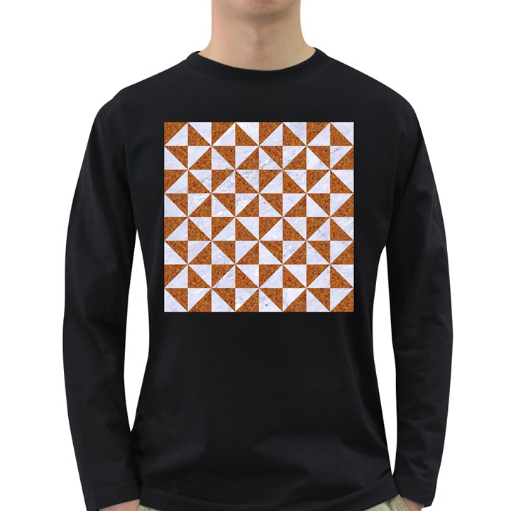 TRIANGLE1 WHITE MARBLE & RUSTED METAL Long Sleeve Dark T-Shirts