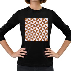 Triangle1 White Marble & Rusted Metal Women s Long Sleeve Dark T Shirts