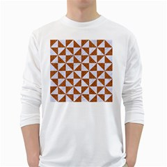 Triangle1 White Marble & Rusted Metal White Long Sleeve T Shirts