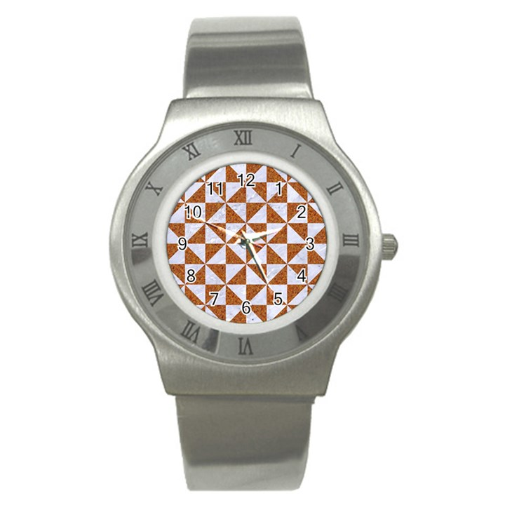 TRIANGLE1 WHITE MARBLE & RUSTED METAL Stainless Steel Watch