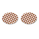 TRIANGLE1 WHITE MARBLE & RUSTED METAL Cufflinks (Oval) Front