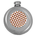 TRIANGLE1 WHITE MARBLE & RUSTED METAL Round Hip Flask (5 oz) Front
