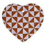 TRIANGLE1 WHITE MARBLE & RUSTED METAL Heart Ornament (Two Sides) Front