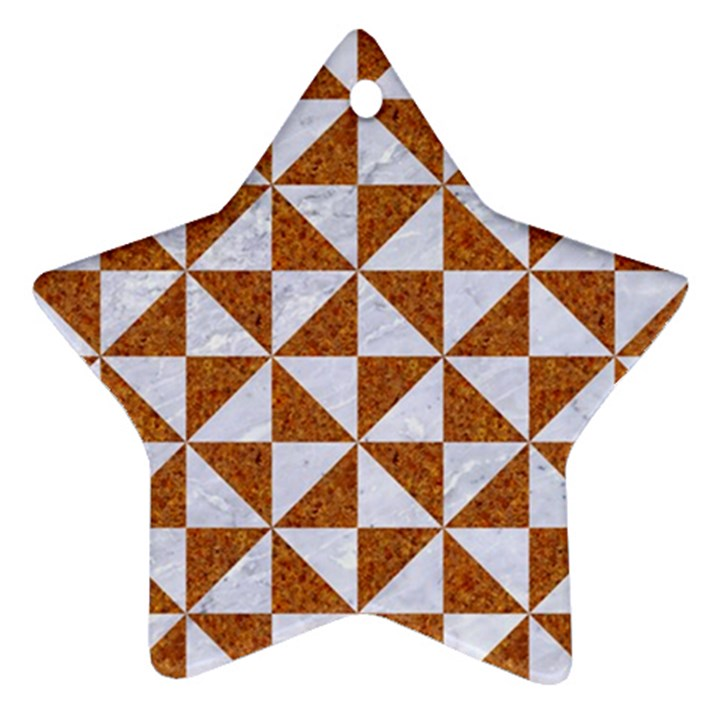 TRIANGLE1 WHITE MARBLE & RUSTED METAL Star Ornament (Two Sides)