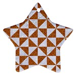 TRIANGLE1 WHITE MARBLE & RUSTED METAL Star Ornament (Two Sides) Back