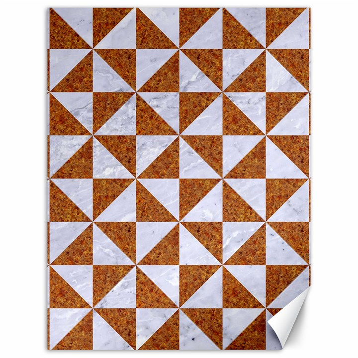 TRIANGLE1 WHITE MARBLE & RUSTED METAL Canvas 12  x 16