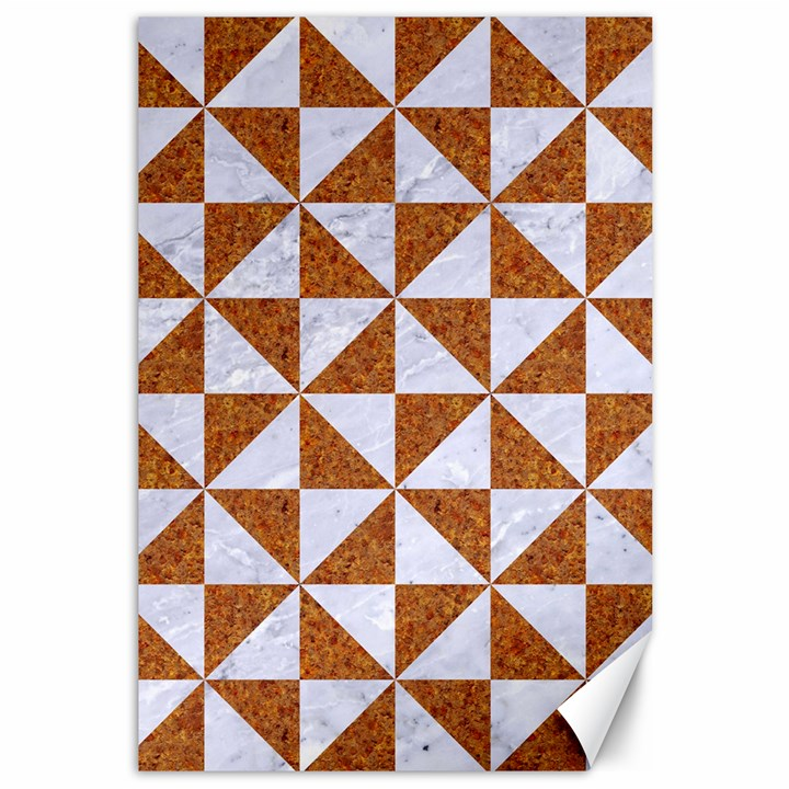 TRIANGLE1 WHITE MARBLE & RUSTED METAL Canvas 12  x 18