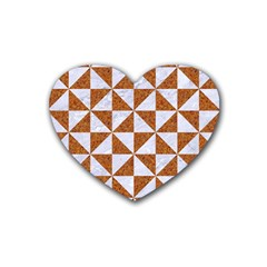 Triangle1 White Marble & Rusted Metal Rubber Coaster (heart)