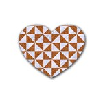 TRIANGLE1 WHITE MARBLE & RUSTED METAL Rubber Coaster (Heart)  Front