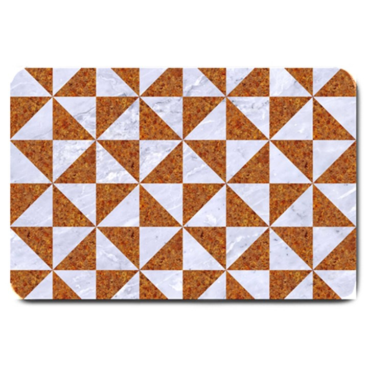 TRIANGLE1 WHITE MARBLE & RUSTED METAL Large Doormat