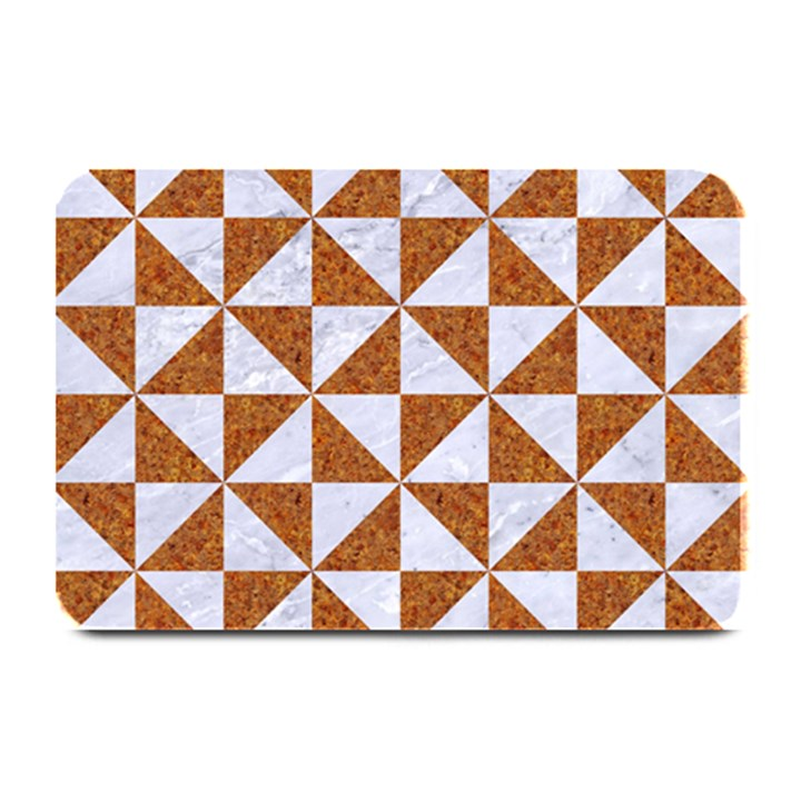 TRIANGLE1 WHITE MARBLE & RUSTED METAL Plate Mats