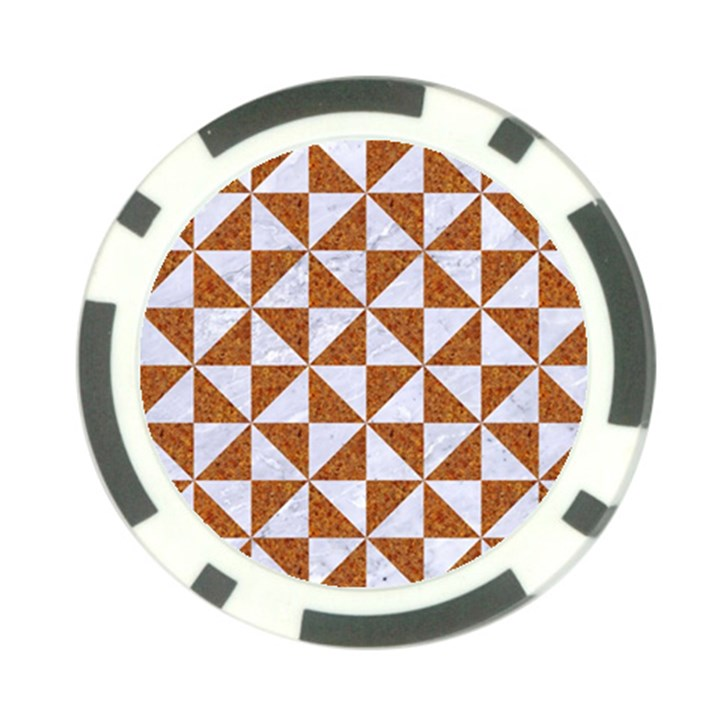 TRIANGLE1 WHITE MARBLE & RUSTED METAL Poker Chip Card Guard