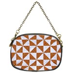 TRIANGLE1 WHITE MARBLE & RUSTED METAL Chain Purses (Two Sides)  Front