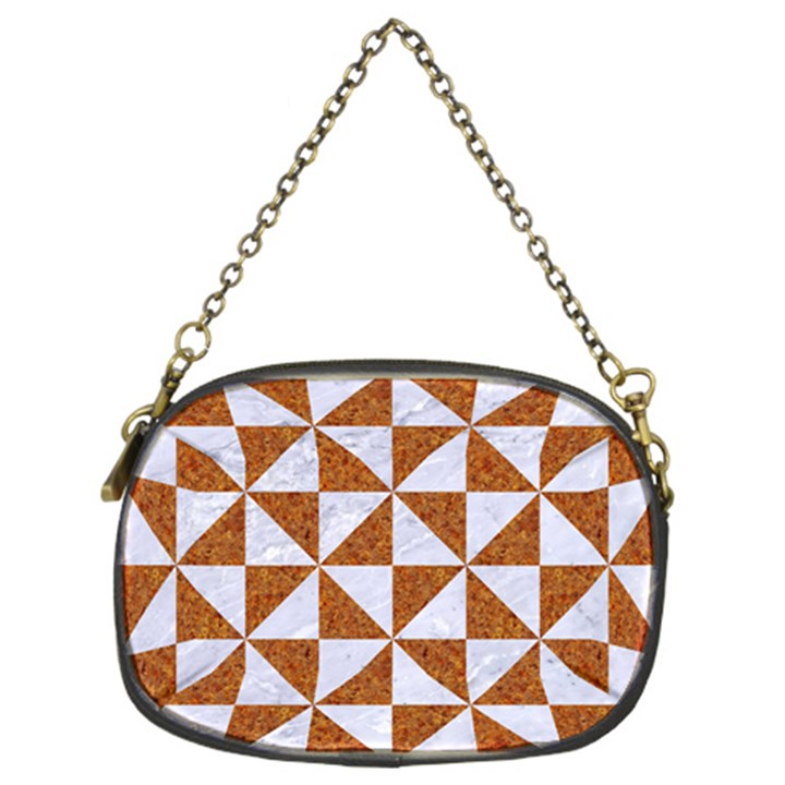 TRIANGLE1 WHITE MARBLE & RUSTED METAL Chain Purses (Two Sides)