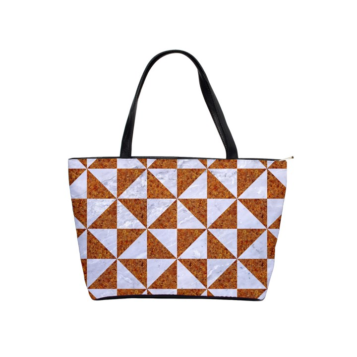 TRIANGLE1 WHITE MARBLE & RUSTED METAL Shoulder Handbags