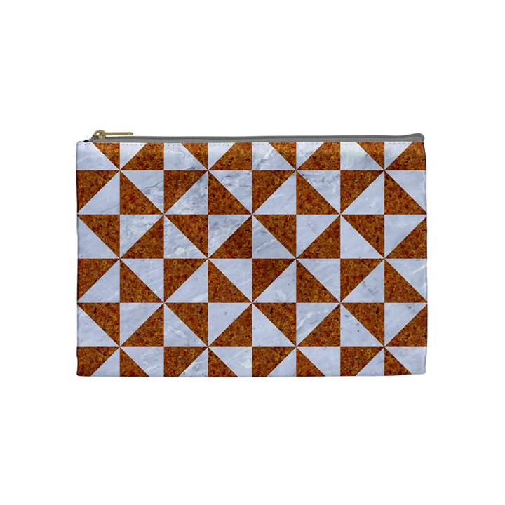 TRIANGLE1 WHITE MARBLE & RUSTED METAL Cosmetic Bag (Medium)