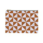 TRIANGLE1 WHITE MARBLE & RUSTED METAL Cosmetic Bag (Large)  Front