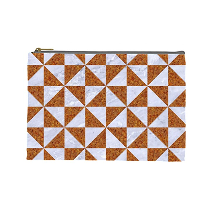 TRIANGLE1 WHITE MARBLE & RUSTED METAL Cosmetic Bag (Large)