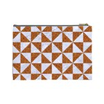 TRIANGLE1 WHITE MARBLE & RUSTED METAL Cosmetic Bag (Large)  Back