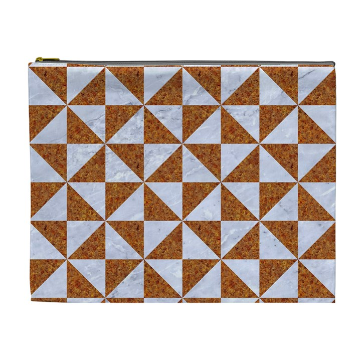 TRIANGLE1 WHITE MARBLE & RUSTED METAL Cosmetic Bag (XL)
