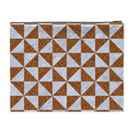 TRIANGLE1 WHITE MARBLE & RUSTED METAL Cosmetic Bag (XL) Back