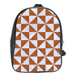 TRIANGLE1 WHITE MARBLE & RUSTED METAL School Bag (Large) Front