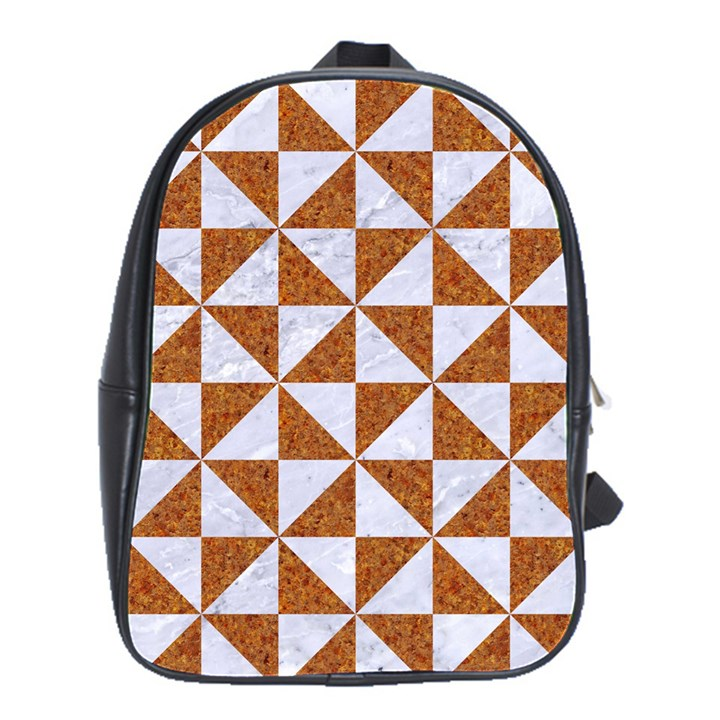 TRIANGLE1 WHITE MARBLE & RUSTED METAL School Bag (Large)