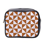 TRIANGLE1 WHITE MARBLE & RUSTED METAL Mini Toiletries Bag 2-Side Front