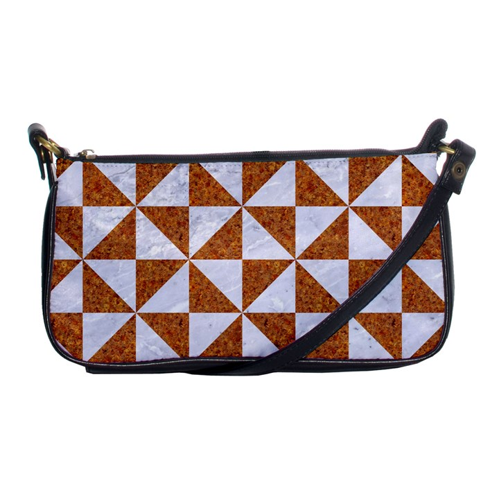 TRIANGLE1 WHITE MARBLE & RUSTED METAL Shoulder Clutch Bags