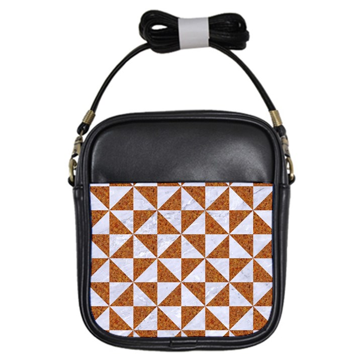 TRIANGLE1 WHITE MARBLE & RUSTED METAL Girls Sling Bags