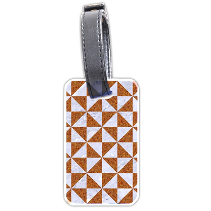 TRIANGLE1 WHITE MARBLE & RUSTED METAL Luggage Tags (Two Sides)