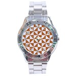 TRIANGLE1 WHITE MARBLE & RUSTED METAL Stainless Steel Analogue Watch Front