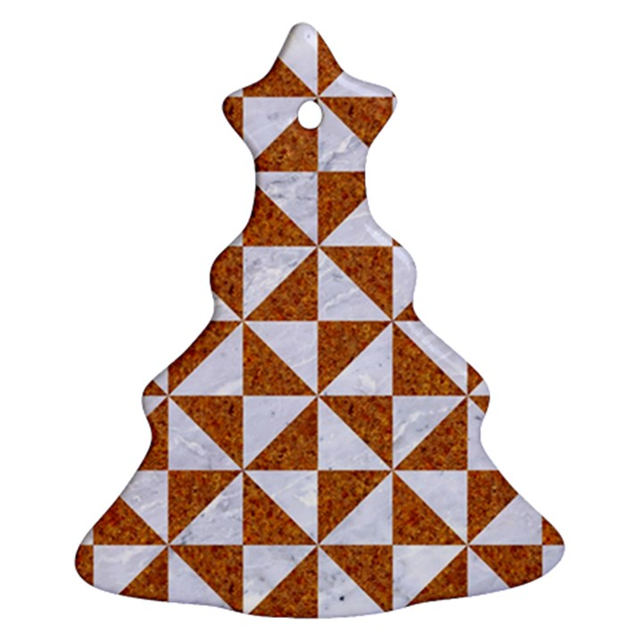 TRIANGLE1 WHITE MARBLE & RUSTED METAL Ornament (Christmas Tree)