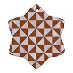 TRIANGLE1 WHITE MARBLE & RUSTED METAL Snowflake Ornament (Two Sides) Front